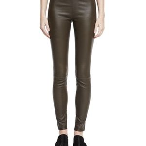 Helmut Lang Lamb Leather Leggings, Color is Marsh